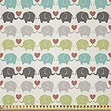 ABAKUHAUS Baby Stoff als Meterware, Elefanten lieben