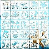 24pcs Plantillas para Pintar Plantillas de Criaturas Marinas Plantillas para Dibujar Niños Plantillas de Plástico Reutilizables de Animales Plantillas para pintar paredes mueble Scrapbooking-13x13cm