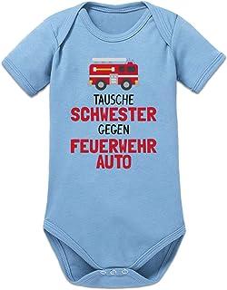 Shirtcity Tausche Schwester Gegen Feuerwehrauto Baby Strampler by