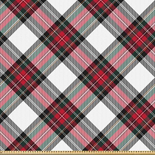 ABAKUHAUS Schotse ruit Stof per strekkende meter, Plaid Motif Rhombuses, Microvezel Stof voor Kunstnijverheid, 1 m, Veelkleurig