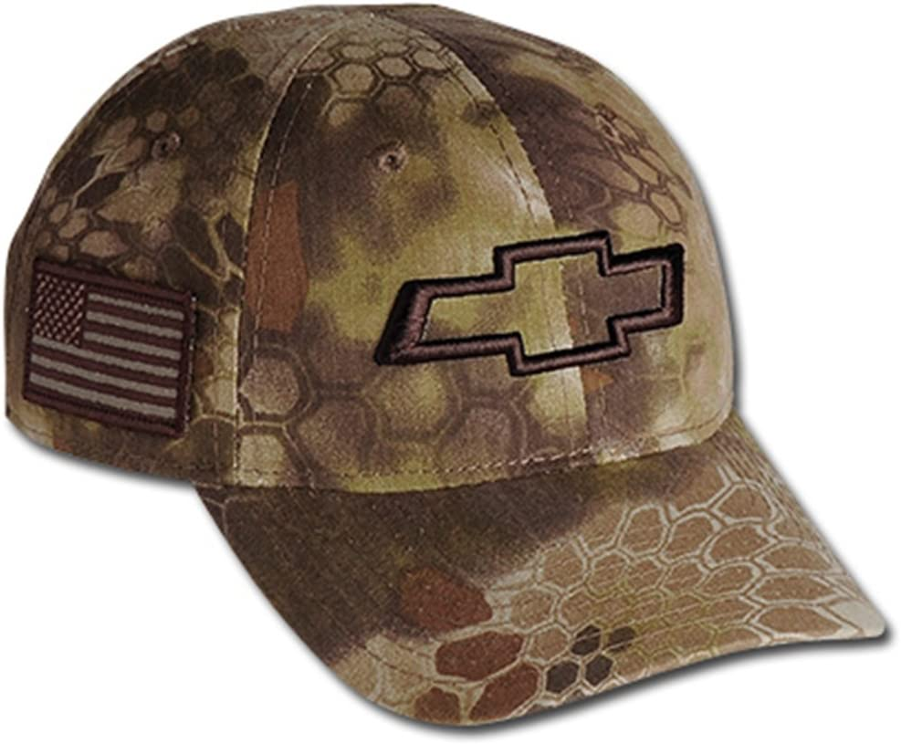 Chevrolet 3D Bowtie Tactical Camo Cap with USA Embroidered Flag Hat (Brown)