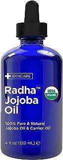 Radha Beauty USDA Certified Organic Jojoba Oil, 4 fl oz. - 100% Pure Unrefined Cold Pressed Jojoba - Great Carrier Oil for...