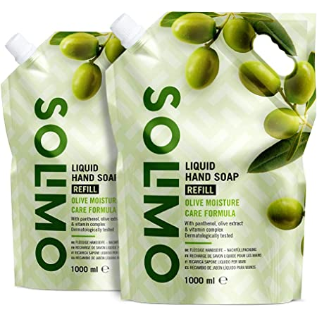 Marca Amazon - Solimo Recambio de jabón líquido para manos. Fórmula hidratante de oliva- Paquete de 2 (2 Recambios x 1000ml)