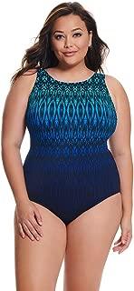 Longitude Women's Plus Size Swimwear Tahoe Ombre Scoopback Highneck Tummy Control Long Torso One Piece Swimsuit