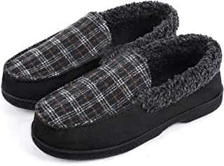 DL Men`s Moccasin Slippers Comfy Micro Suede Memory Foam House Shoes with Indoor Outdoor Anti-Skid Rubber Sole