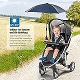 reer ShineSafe Sonnenschirm für Kinderwagen, universal nutzbar, dreh- und neigbar, blau