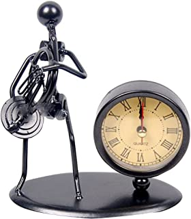 Classic Vintage Old Fashion Iron Art Musician Clock Figure Ornament For Home Office Desk Decoration Gift (C67 French Horn)