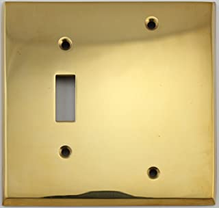 Unlacquered Polished Brass 2 Gang Combination Switch Plate - 1 Toggle Light Switch Opening 1 Blank
