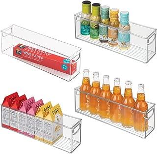 mDesign Plastic Stackable Kitchen Pantry Cabinet, Refrigerator or Freezer Food Storage Bins with Handles - Organizer for Fruit, Yogurt, Snacks, Pasta - BPA Free, 16