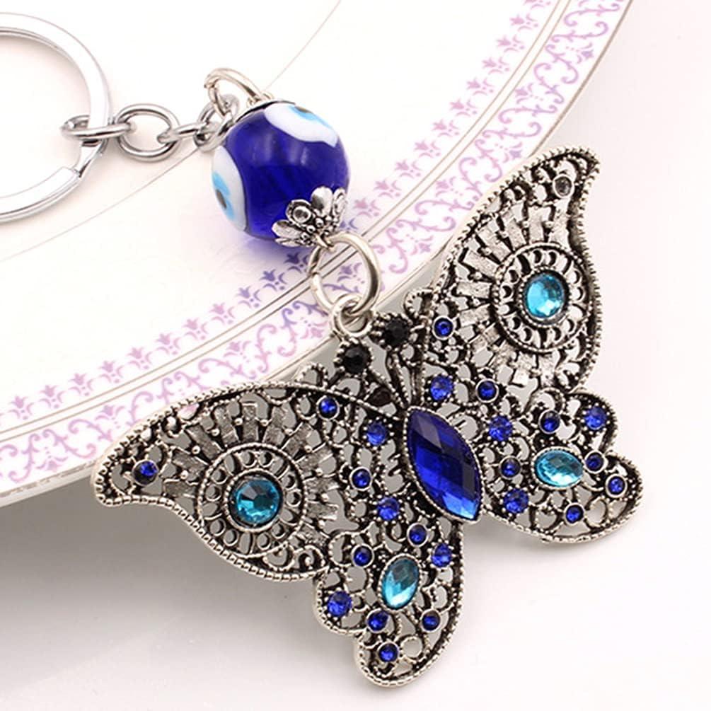 Holibanna Evil Eye Key Chain Butterflies Key Chain Pendant Keyring Decorative Keychain Ornament Handbag Charm Car Bag Purse Pednant Accessories