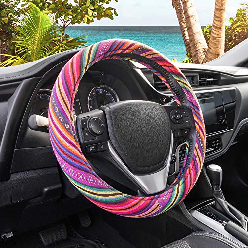 BDK Colorful Woven Boho Bohemian Hippie Style Steering Wheel Cover for Women - Universal Fit for Standard Wheel Sizes 14.5 15 15.5 inches (Colorful Patterns) (SW-710)