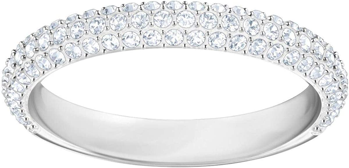 Swarovski Crystal Authentic Stone Mini Ring, White, Rhodium Plated, Size 5 - Women's Fashion Jewelry Studded with Crystals - Sparkly Fancy JewelryBand for Wedding and Engagement