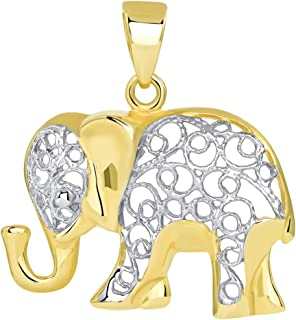 14k Yellow Gold Elegant Filigree Two Tone Elephant Pendant