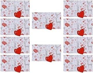 Amosfun 10 Piezas de Tarjetas de Felicitación del Día de San Valentín sobre Papel de Carta Creativo en Forma de Corazón con Patrón de Ciervo de Hilo de Hilo para Fiesta de Boda