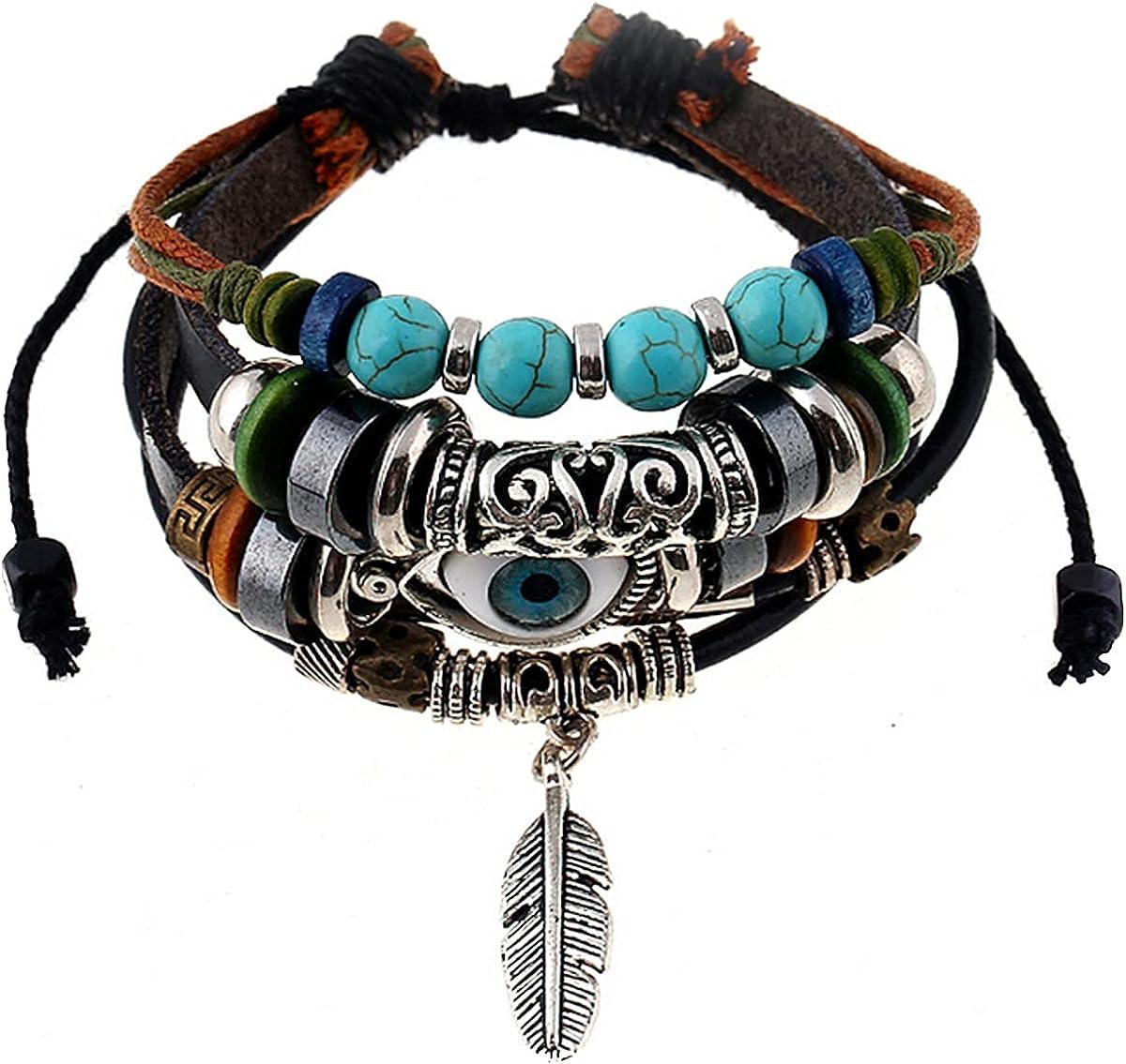 NIDEZHI Vintage Leaf Charm Braided Leather Bracelet Cuff Pulling Adjustable Size Rope Bracelet Jewelry