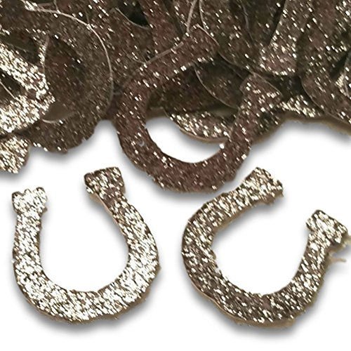"""Custom & Fancy {1"""" Inch} Approx 100 Pieces of """"Table"""" Party Confetti Made of Premium Card Stock w/ Western Rodeo Cowboy Lucky Glitter Horseshoe Decorative Scatter Craft Design [Silver]"""