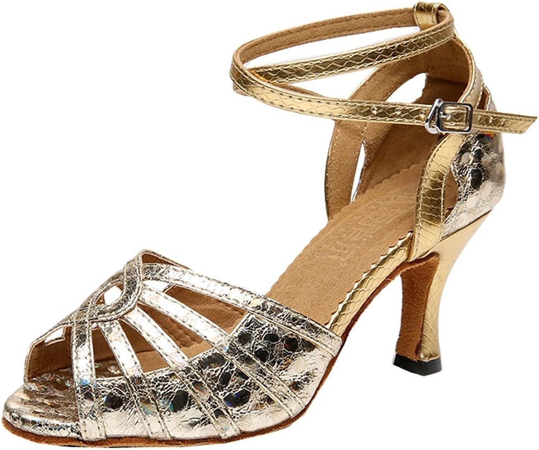 TDA Women's Mid Heel Snakeskin Glitter Sequins Peep Toe Salsa Tango Ballroom Latin Dance Wedding shoes