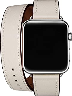 WFEAGL Compatible Watch Band 38mm 40mm 42mm 44mm, Top Grain Leather Double Tour Band for Watch Series 5,Series 4,Series 3,Series 2,Series 1,Sport Edition (IvoryWhite Band+Silver Adapter, 38mm 40mm)