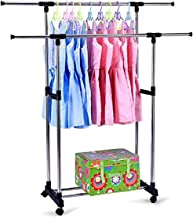 Clothes Rack, Double Clothes Rail Adjustable Clothes Horse DIY Roll Wardrobe Extendable Clothes Stand Collapsible Clothes ...