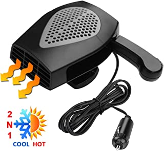 Car Heater, Portable Auto Electronic Heater Fan Fast Heating Defrost 12V 150W Car Defrost Defogger, 2 in 1 Heating/Cooling Function 3-Outlet, Plug Adjustable Thermostat in Cigarette Lighter(Black)