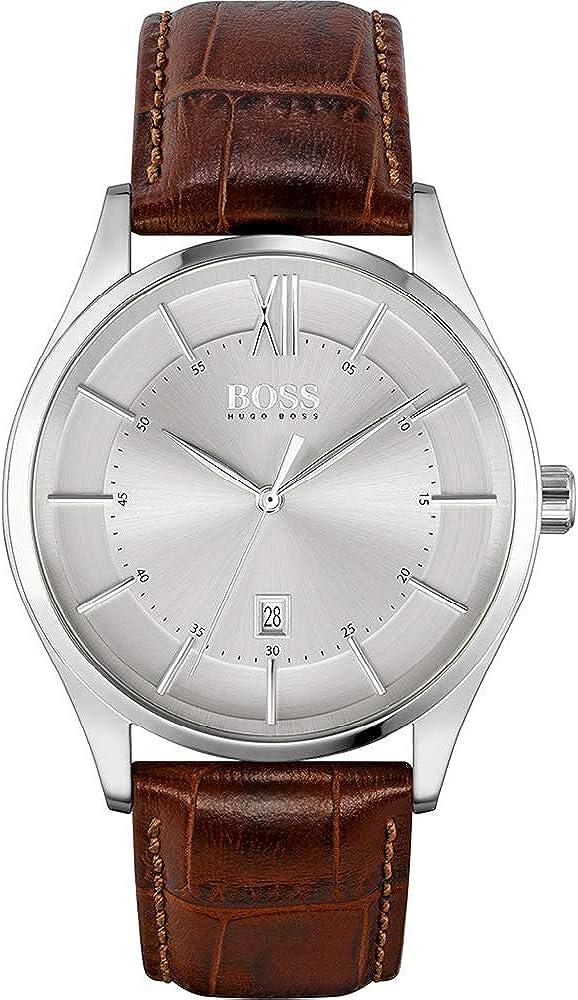 Hugo boss, orologio per uomo,cassa in acciaio inossidabile e cinturino in pelle 1513795