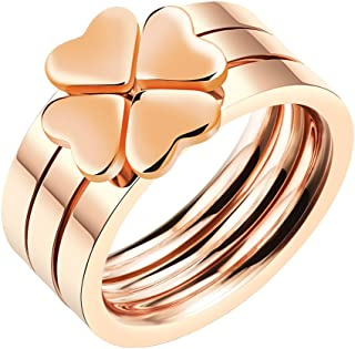 Women's Stainless Steel Love Heart Lucky Clover Stackable Ring 3 in 1 Rose Gold Band