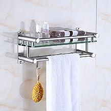 XINHU Wandmontage badkamer plank glas toilet opslag rack 304 roestvrij staal handdoekenrek (maat: 40 * 13 * 16CM)