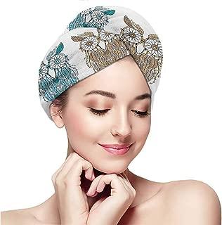 Dry hair towel wrap towel headband dry hair cap bath towel hot spring,Owl,Dreamcatcher Style Owl Tribal Ethnic Features Magic Farsighted Birds Artsy Print,Cream White Teal