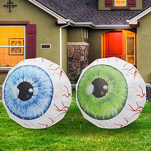 GOOSH 3 FT Height Halloween Inflatable Outdoor Blue & Green Pair of Bloodshot Eyeballs, Blow Up Yard Decoration…