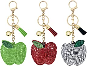 IMIKEYA 3pcs Rhinestone Fruit Keychain Key Rings Bag Ornaments Car Phone Purse Bag Charm Pendant Decoration Holiday Gift f...