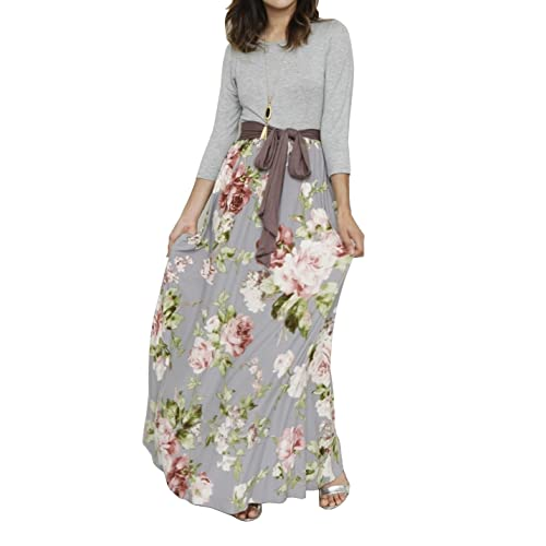 bc49d71c455c Bigyonger Womens Casual 3 4 Sleeve Striped Patchwork Floral Print Tie Waist  Maxi Long Dress