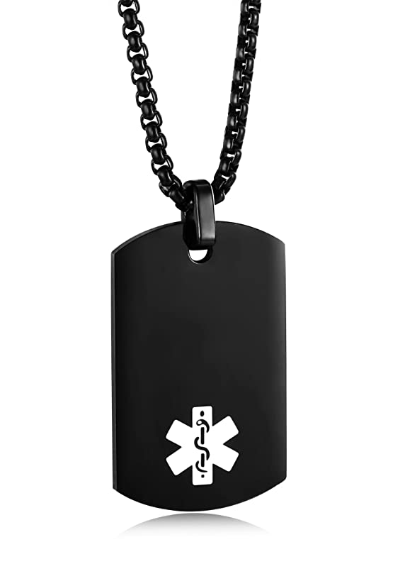 JF.MED IP Black-Plated Stainless Steel Medical Alert ID Pendant Necklace for Men & Women 20-24 inch,Free Engraving
