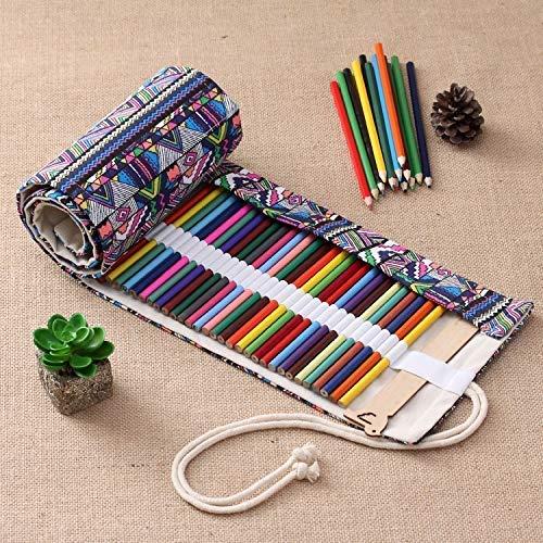 HYZXK 36 Ranuras Bolso para bolígrafos con Estampado étnico Lona para lápices Envoltura para Cortinas Estuche para lápices Enrollable Estuche para papelería/m