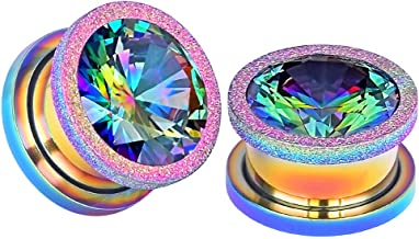 Qmcandy 2pcs 2G-5/8 in Stainless Steel Screwed Large Zircon Ear Tunnels Piercing Jewelry