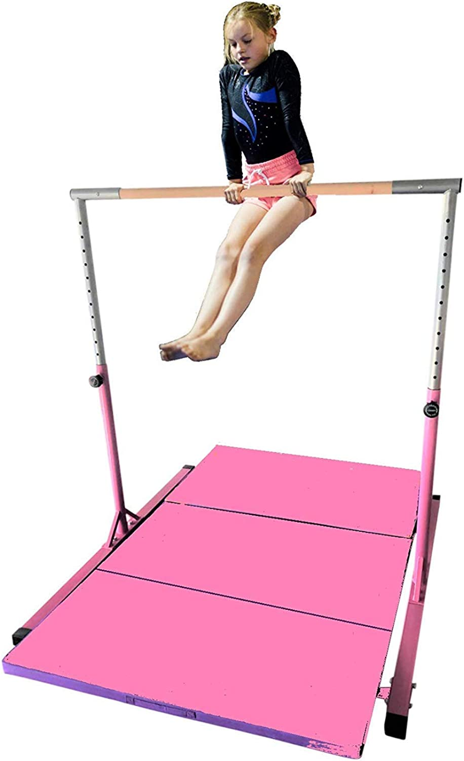 ToyKraft Kids Kip Bar with 4x8 FT Pink Tumble Mat Jungle Gym Horizontal Height Adjustable Expandable Junior Training Playground with Pink Mat