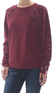 Womens Juniors Kiana Velvet Lace Up Sweatshirt