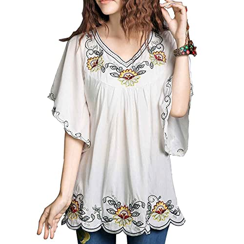 b84771ee647 Ashir Aley Floral Embroidered Butterfly Sleeve Wrap Ruffled Peasant Tops  Blouse