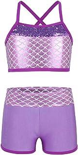 TiaoBug Child Girls Activewear 2 Piece Sequins MermaidTank Top & Shorts Set Gymnastics Ballet Dance Wear