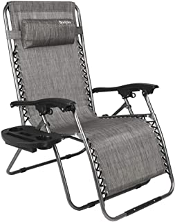 Bonnlo Oversized Zero Gravity Chair, Outdoor Patio Lounge Chair, Adjustable Folding Office Reclining Chairs with Cup Holder and Headrest for Beach Garden