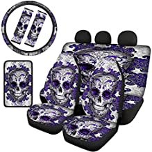 GIFTPUZZ Sugar Skull Gothic Car Seat Covers Full Set of 8 with Steering Wheel Cover Anti Skid, Safety Seat Belt Straps Pads and Center Console Armrest Cover Interior Protection Women Teens Purple