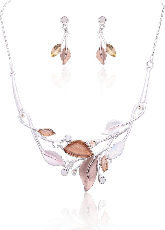 Fenni Sale item Elegant Crystal Enamel Spring Neckla Flower Max 60% OFF Leaf Statement