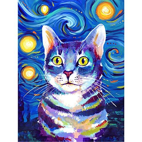 Kit de pintura de diamantes 5D, cuadros de punto de cruz gato en el cielo estrellado, diamond painting kit manualidades pintura diamante lienzo calcomanías de decoración para la pared 30 x 40 cm
