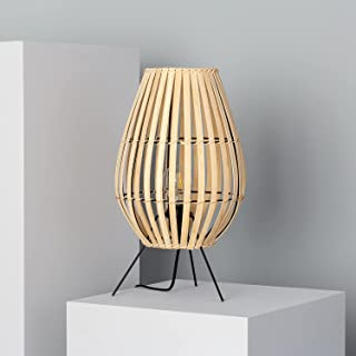 LEDKIA LIGHTING Lampe à Poser Bambu Atamach 440xØ250 mm Naturel E27 Bambou pour Décoration Salon, Chambre, Cuisine