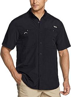 TSLA Men's PFG Shirt, UPF 50+ Breathable Fishing Shirts, Outdoor Recreation Button Down Short Sleeve Shirt