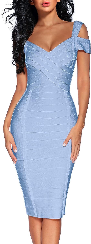 Womens's Spaghetti Strap Bandage Dresses Midi Bodycon Dress Clubwear Semi-Formal Dress