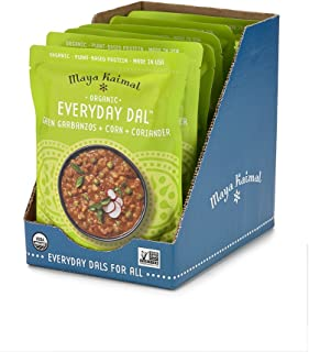 Maya Kaimal Organic Indian Green Garbanzo Everyday Dal, 10 oz (Pack of 6), Fully Cooked with Corn and Coriander. Vegan, Microwavable, Ready to Eat