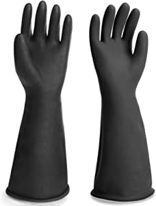 """Long Rubber Gloves Heavy Duty, EnPoint Thick Chemical Resistant Gloves, Waterproof Cleaning Painting Protective Safety Work Heavy Duty Gloves, 1 Pair 18"""" Black Dishwashing Gloves Large for Men"""