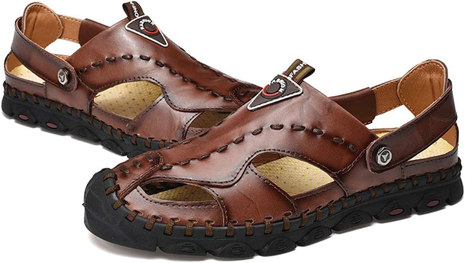 DYFAR Sports Outdoor Sandals Men's Leather Fisherman Breathable Summer Casual Adjustable Strap shoes Walking Beach Travel for Men Sandals shoes Size6 11 12 8.5 9.5 10, Brown, 40