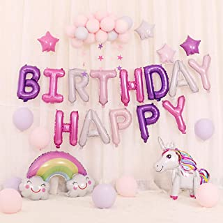 Lehoo Castle Unicorn Balloon for Birthday, 35 Pcs Birthday Decorations for Girls, Unicorn Party Decoration for Girl Birthday, Happy Birthday Balloons, Pink & Purple Balloon