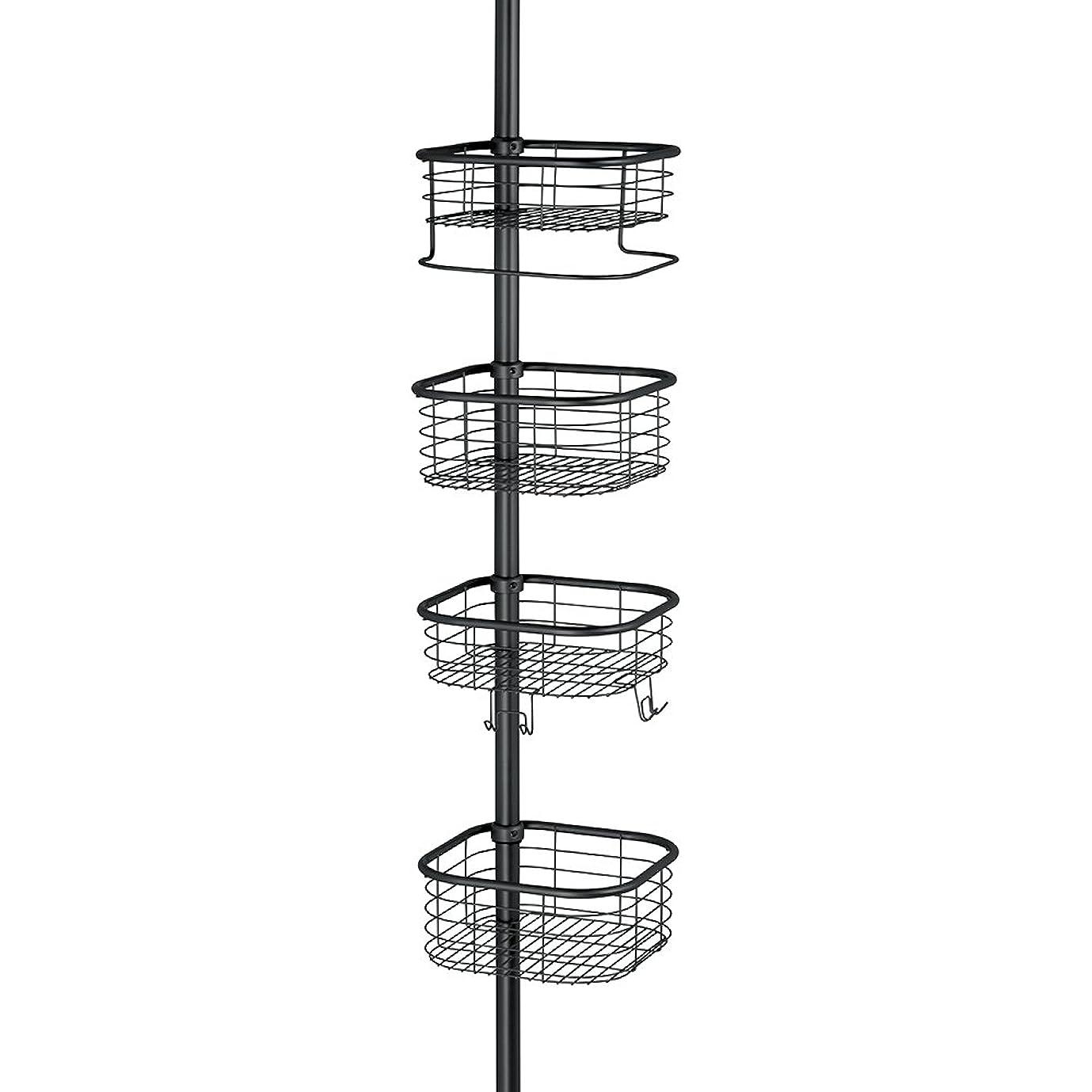 するだろうアパル定義するInterDesign 縦型 突っ張り棒 伸縮棒 シャワー コーナー 四角 バスケット付き ポール Forma ブラック 43167EJ